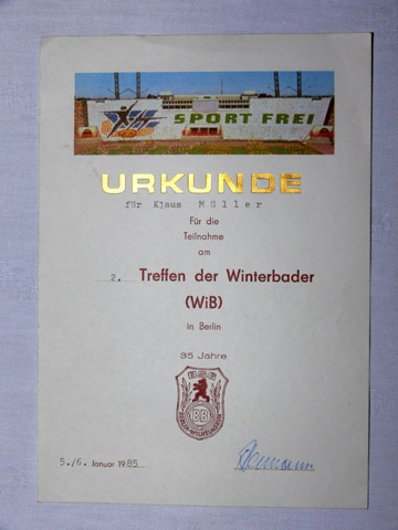 Urkunde vom 2. Winterbaden in Berlin, 1985